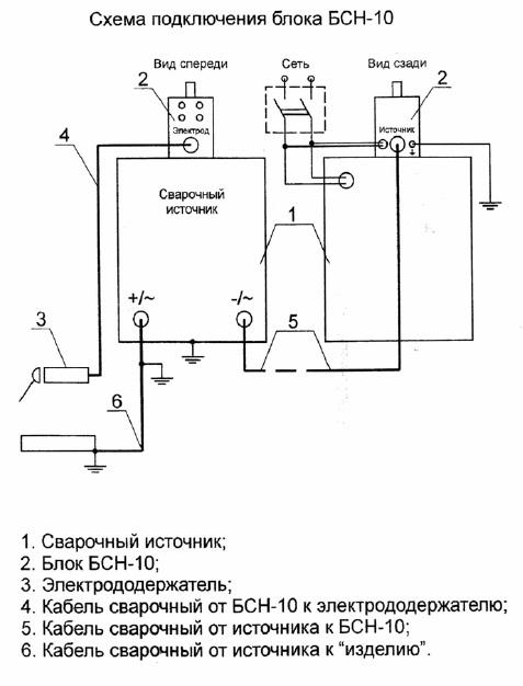 Схема подключения блока БСН-10